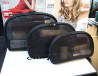 ingrosso borse per case in mesh-donne maglia famosa marca 3 pz / set cosmetico vanità caso di lusso trucco organizzatore sacchetto di toilette sacchetto della frizione boutique regalo di nozze