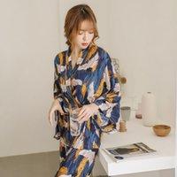 kadın giyim japanese kimono toptan satış-Pijama Kadın Tam Şık Ev Giyim Uyku Giyim Kadın Pijama Takım Elbise Sonbahar Vinç Hayvan Japon Kimono Kayışlarını yazdır ayarlar