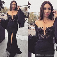 Wholesale beaded evening dresses usa for sale - Group buy Gorgeous Illusion Applique Lace Mermaid Evening Dresses Black Arabic Front Split Long Sleeve Prom Dresses Sexy Formal Engagement Gowns USA