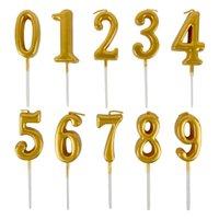 fuentes de la fiesta de cumpleaños de la magdalena al por mayor-1pc Velas de oro para las decoraciones de la fiesta de cumpleaños feliz niños adultos 0-9 Número de velas Pastel de Cupcake Topper Party Supplies