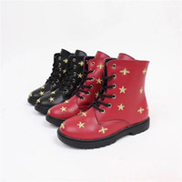 Wholesale cute shoes for kid boy resale online - Baby Shoes Kids Boots Winter Fashion Boys Girls Boots PU Leather Cute Bees Applique Velvet Inside For Children Keep Warm Matin Boots