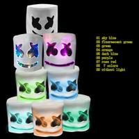 смешные огни ночь оптовых-Взрослый Смешные LED Night Light Mask Cap Marshmello DJ Косплей LED шлем партии Реквизит Halloween дышащий Headgear MMA2107-14