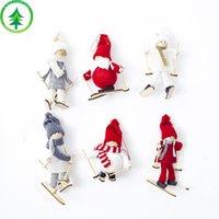 asılı bebek dekorasyonu toptan satış-6 Stiller Noel Süsleri Kayak Doll Yaratıcı Noel Süsler asın Noel ağacı Mini Doll Çocuk Hediye L353