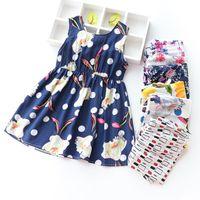 ropa antigua para niños al por mayor-ropa de niña bebé moda 2019 niños niñas ropa Vestidos de playa de verano 3-8 años 36 colores Vestido floral para niña