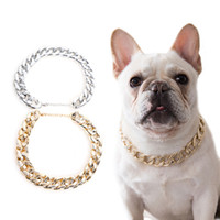 Wholesale dog collar extra small resale online - Small Dog Snack Chain Teddy French Necklace Silvery Golden Pet Accessories Dogs Collar