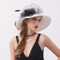 Wholesale black lace hat for sale - Group buy Black White Beach Sun Hat Female Summer Sunscreen Flower Sun Protection Cap Women Fashion Feather Lace Net Yarn Lady Hats H6555