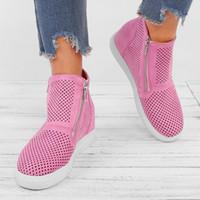 chaussures les plus fraîches achat en gros de-chaussures pour femmes t nouveau 2019 zapatos mujer Womens Fashion Wedges épais fond plat fermeture à glissière creuse avec chaussure décontractée Cool Boot # 4gh