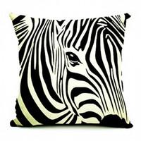 zebra yastık kılıfları toptan satış-Kiwiberry Ev Dekor Keten Dekoratif Yastık Kapak Zebra At Baskılı Kanepe Yastık Pullu Yastık Kılıfı 45 * 45 Cojines Kapakları