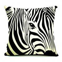almofadas de impressão de zebra venda por atacado-Kiwiberry Home Decor Linen Decorativa Fronha Zebra Cavalo Impresso Capas de Almofada Do Sofá Sequin Fronha 45 * 45 Cojines