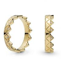 presentes exóticos venda por atacado-New Original 925 Sterling Silver Ring Banhado A Ouro Pave Cristal Adorável Empilhados Exotic Crown Ring Para As Mulheres Presente da Festa de Casamento Jóias Finas