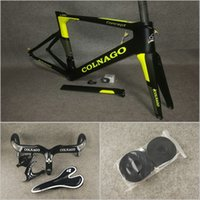 Wholesale yellow black water cage holder resale online - Black Yellow Fluo T1000 UD Matte Colnago Concept carbon road frames C64 C60 Handlebar Saddle Seat Water Bottle cages holders