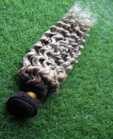 işlenmemiş bakire saç atkı atkı toptan satış-T Off Siyah / Gri Renk Malezya Bakire Kıvırcık Saç Uzantıları% 100% İnsan Saç Dokuma 6a Işlenmemiş Çift Atkı Saç dokuma 1 adet / 100g