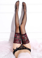 51f549fae67 New Punk Maid Sexy Heel Back Sheer Stockings Wide Lace up Hold Up Silicone  16cm Floral Top Thigh High Cross Bandage Stockings