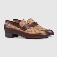 ingrosso migliori modelli di vestiti-Scarpe eleganti da uomo di design di lusso scarpe casual classiche da matrimonio modello Lion Plaid Scarpe da guida moda in vera pelle Migliore qualità