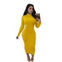 robes midi jaunes dames achat en gros de-Coton Tricot Robe Imprimer Automne Nouvelle Tendance Dame Casual Jaune Blanc Gaine Taille Serrée Ceinture Bande Poches Décoration Mi Mollet Robes