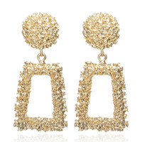 Wholesale white big flowers resale online - Big Vintage Earrings for women gold color Geometric statement earring metal earing Hanging fashion jewelry trend