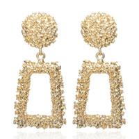 ingrosso orecchini per le tendenze delle donne-Grandi orecchini vintage per donna colore oro orecchini geometrici 2019 orecchini in metallo tendenza tendenza gioielli appesi
