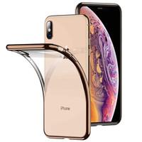galvanisierte iphone klare fälle großhandel-Klar transparent galvanik weichen tpu case gel telefon abdeckung für iphone xs max xr 7 8 6 s plus samsung s10 s9 s8 plus