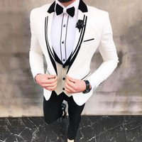 Latest White Suits for Wedding Tuxedos Groom Wear Black Peaked Lapel Groomsmen Outfit Man Blazers 3Piece trajes de hombre Costume Homme
