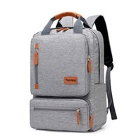 Wholesale business backpack notebook resale online - Men s Backpack Casual Business Notebook Backpack Light inch Laptop Bag Anti Theft Backpack Travel Rucksack Gray sac a dos T200326