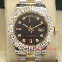 diamant-armbanduhr großhandel-Rot Mechanisch Automatik Gold Luxus Designer Daydate Diamant vereist Damen Herrenuhren Herren Montre Watch Armbanduhren