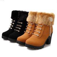 botas calcanhar grosso venda por atacado-Botas de Neve das mulheres do inverno Inglaterra Estilo Chunky Heel Fur Botas Martin Fivela Grossa Ankle Boots das Mulheres Frete Grátis