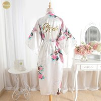 Wholesale plus size beige bridesmaid dresses for sale - Group buy Silk Bridesmaid Bride Robe Maid Honor Mother Floral Of The Robes Satin Wedding Robe Kimono Sexy Nightgown Dress Woman Bathrobe
