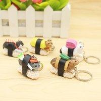 encantos sushi venda por atacado-Criativo Gato Sushi Chaveiro Chave Anéis Bolsa Pendurado Pingentes Encantos Do Telefone Presente Da Corrente Chave para As Crianças