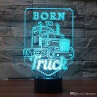 ingrosso camion della lampada principale-Nato per Truck 3D ha condotto la luce di notte ha condotto acrilico Luci colorate Ologramma bambini lampada da tavolo Atmosfera USB LED Lamp Canon Luce