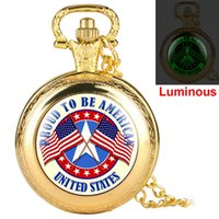Wholesale flag watch men for sale - Group buy Creative American Flag Pattern Pocket Watches for Women Chic Quartz Pendant Watch for Male Exquisite Alloy Case Pocket Watch for Men