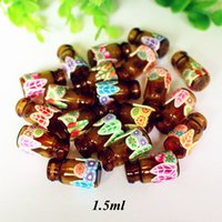 Wholesale polymer clay jewelry diy resale online - 1 ml Jewelry Polymer Clay Mini Glass Essential Oil Bottle Pendant Wishing Bottles Vials With Natural Wood Cork DIY