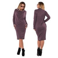 roupa de escritório inverno venda por atacado-L-6xl tamanho grande 2019 outono inverno escritório dress tamanho grande casual manga comprida dress plus size bolso mulheres roupas vestidos zbd0562