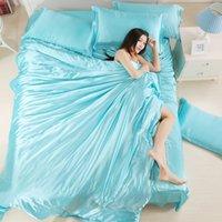 quilt cover king blau großhandel-Schöne 100% reiner Seide Bettbezug Set König Twin Queen Size Solid Wasser blau Trösterbezug Set für Frauen von Bettwäsche Supplies