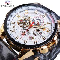 polimento de couro preto venda por atacado-Forsining Automatic Men Watch Casual Ouro Data Polish Black Leather Belt Relógios Mecânicos Waterproof Relógio Relógio Masculino