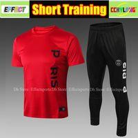 Wholesale man short sleeves sweater resale online - Thailand PSG Short Sleeve Training Suit Kit Men Sets MBAPPE Tracksuit Maillot de foot Football Shirts Soccer Sweater