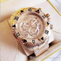 Wholesale large calendar for sale - Group buy 2019 High quality Swiss INVICTA Very large rotating dial super quality Men s watch Tungsten steel Multifunction Gold quartz watch