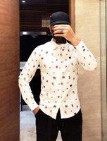 ingrosso comprare abiti estivi-Hot Buy Uomo Camicie casual Snake / Bee / Tiger / Flower / UFO Manica lunga camicia formale 2019 New Summer Fashion Dress Camicie Top Bianco