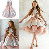 Wholesale black feathered tutu resale online - Shiny Sequins Flower Girls Dresses With Bow Feathers Appliques Tulle Tiered TuTu Girls Pageant Gowns Gorgeous Puffy Kids Prom Dress