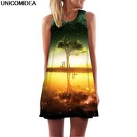Wholesale mini 3d star resale online - 2019 Life Tree Print D Dress Women Galaxy Star Beer Sleeveless O Neck A Line Mini Dress Robe Sexy Boho Beach Summer Vestidos