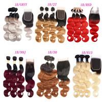 1b 613 örgü toptan satış-Brezilyalı Ombre Saç Vücut Dalga Düz Remy Saç Örgüleri 1B / 27 1B / 30 1B / 99J 1B / Kırmızı 1B / 613 1B / GRI Çift Atkı