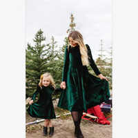 Wholesale mommy and me dresses resale online - Autumn Mommy and me family matching mother daughter Korean Plush Long Sleeve dresses clothes mom and Girl dress kids parent child outfits