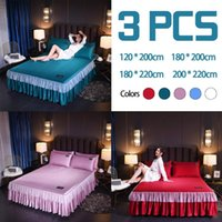 Wholesale romantic queen size bedding sets resale online - 3PCS Romantic Silk Bedding Sets Soft Smooth Bed Skirt With Bed Surface Pillowcase Home Textile Set Full Queen King Size