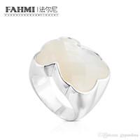 anillos de perlas de plata de ley al por mayor-FAHMI 100% 925 de plata esterlina dulce temperamento elegante madre-de-perla anillo femenino 815115500 regalo original de la joyería