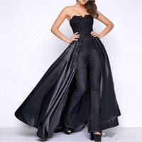 Wholesale hand picture flowers for sale - Group buy Black Lace Stain Prom Jumpsuit With Puffy Detachable Overskirt Strapless Women Party Occasion Evening Pant Suit