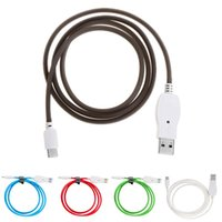 Wholesale brown usb flash for sale - Group buy Voice Sound Control Cell Phone Cables LED Light Flash Micro USB Type C Charging Cable Flashing Character Cable For iPhone