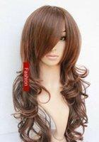 seksi moda perukları toptan satış-Sıcak Satmak Yeni Moda Seksi Uzun Açık Kahverengi Kıvırcık Dalgalı kadın Saç Peruk Peruk + Kap
