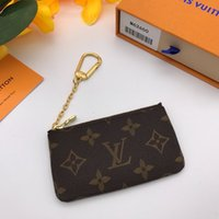 Wholesale box mini figures resale online - Genuine Leather Car Key Wallets France style coin pouch men women lady leather coin purse key wallet mini wallet serial number box dust