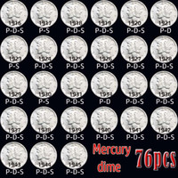 76pcs USA coins 1916-1945 mercury copy coins bright of different ages silver-plated set of coins