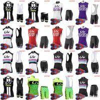 bisiklet çorabı takımları toptan satış-YENI-Bisiklet Rüzgar Geçirmez LIV ORBEA takım Bisiklet Kolsuz jersey Yelek (önlük) şort Setleri kadın Bisiklet sıkı sportwear D1602