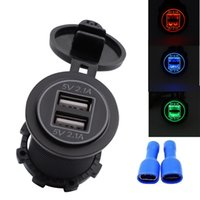 Wholesale outlet for motorcycles resale online - 5V A Dual USB Car Charger Universal Dual USB Port Power Outlet for Motorcycle Car With Dustproof Plastic Cover HHA284